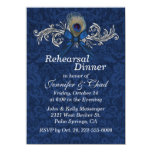 Chic Damask and Peacock Feather Wedding Rehearsal 11 Cm X 16 Cm Invitation Card