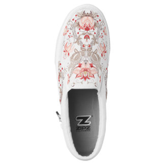 Chic Damask Floral Pattern Monogram Slip On Shoes Printed Shoes