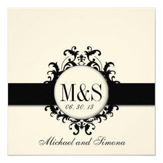 Chic Damask Monograms Wedding Black Cream 13 Cm X 13 Cm Square Invitation Card