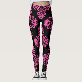 Chic damask pink and black pattern leggings
