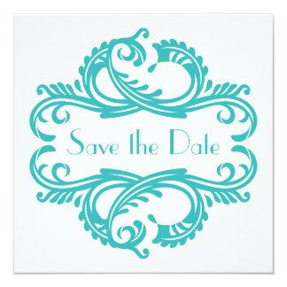 "Chic Damask Save the Date, Aqua 5.25"" Square Invitation Card"