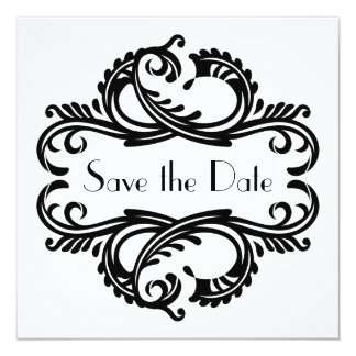"""Chic Damask Save the Date, Black 5.25"""" Square Invitation Card"""