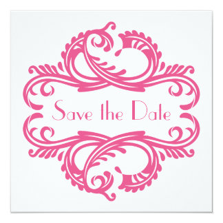 """Chic Damask Save the Date, Pink 5.25"""" Square Invitation Card"""