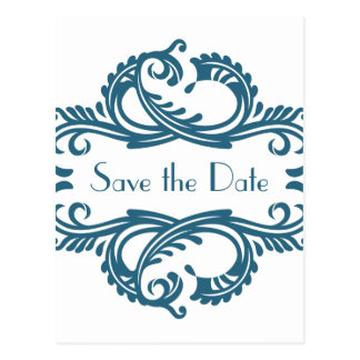 Chic Damask Save the Date Postcard, Blue Postcard