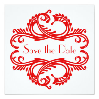 """Chic Damask Save the Date, Red 5.25"""" Square Invitation Card"""