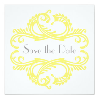 """Chic Damask Save the Date, Yellow 5.25"""" Square Invitation Card"""