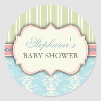 Chic Damask & Stripe Baby Shower Favor Sticker