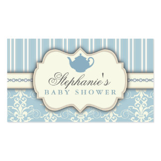 Chic Damask & Stripe Baby Shower Tea Favor Tag Double-Sided Standard Business Cards (Pack Of 100)