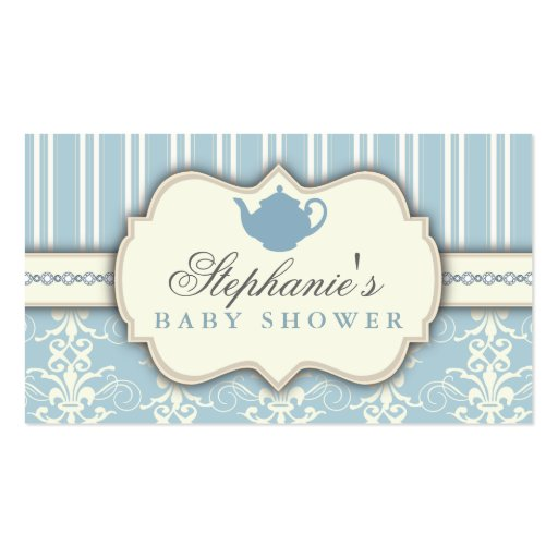 Chic Damask & Stripe Baby Shower Tea Favor Tag Business Card Template