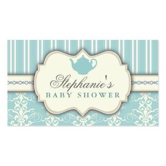 Chic Damask & Stripe Baby Shower Tea Favor Tag Business Cards