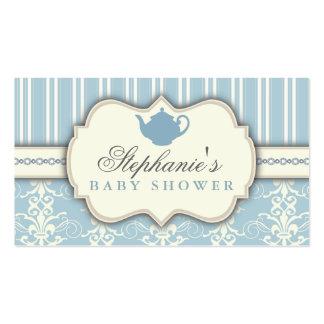 Chic Damask & Stripe Baby Shower Tea Favor Tag Pack Of Standard Business Cards