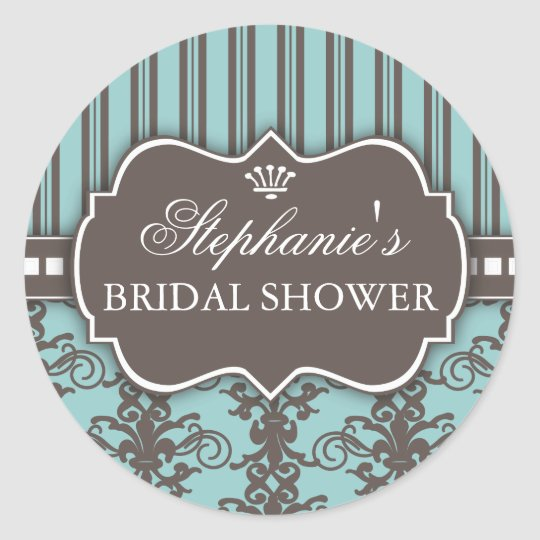 Chic Damask & Stripe Bridal Shower Favour Sticker