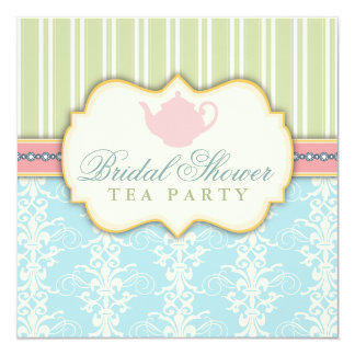 Chic Damask & Stripe Bridal Shower Tea Invitation