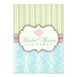"Chic Damask & Stripe Bridal Shower Tea Invitation 5"" X 7"" Invitation Card"