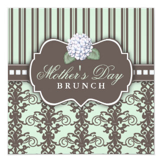 "Chic Damask Stripe Mother's Day Brunch Invitation 5.25"" Square Invitation Card"