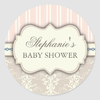 Chic Damask Vintage Baby Shower Favor Sticker