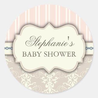 Chic Damask Vintage Baby Shower Favor Sticker