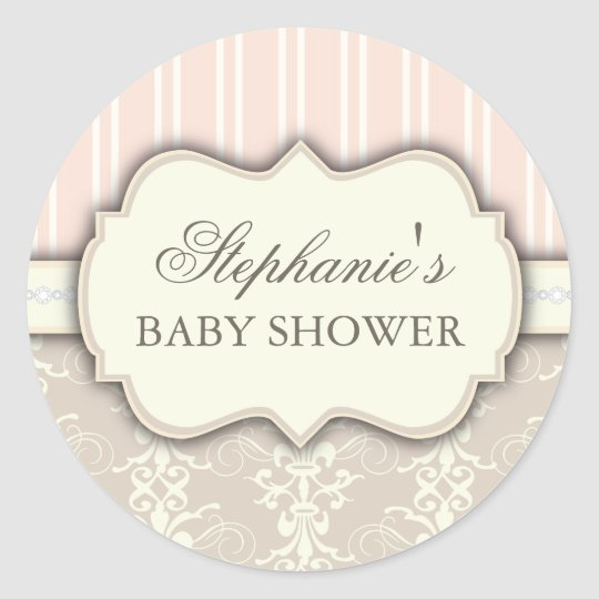 Chic Damask Vintage Baby Shower Favour Sticker