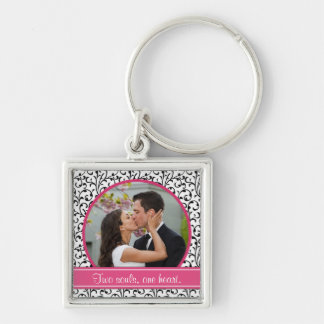 Chic Damask Wedding Photo Template Keychain