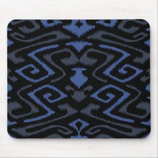 Chic dark blue and black tribal ikat print mouse pad
