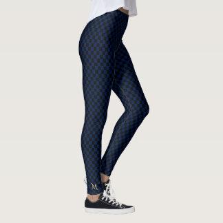 Chic Dark Blue Check Pattern Monogram Full Length Leggings