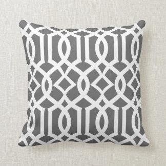 Chic Dark Gray and White Moroccan Trellis Pattern Cushion