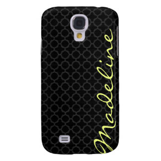 chic dark grey pattern with lemon text galaxy s4 case