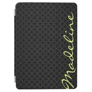 chic dark grey pattern with lemon text iPad air cover