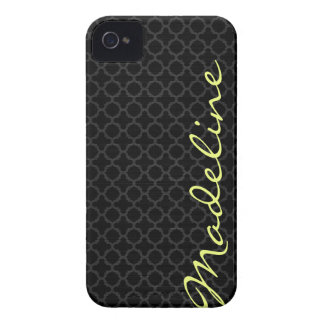 chic dark grey pattern with lemon text iPhone 4 Case-Mate cases