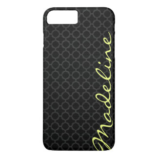 chic dark grey pattern with lemon text iPhone 8 plus/7 plus case