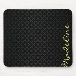 chic dark grey pattern with lemon text mouse mat