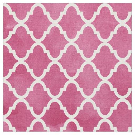 Chic Dark Pink Watercolor Style Quatrefoil Pattern Fabric