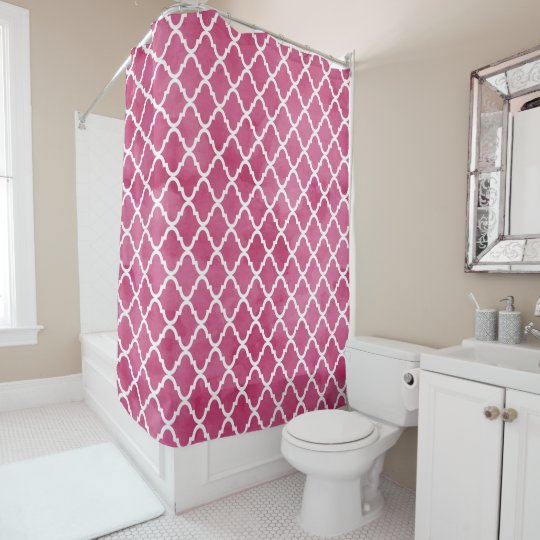 Chic Dark Pink Watercolor Style Quatrefoil Pattern Shower