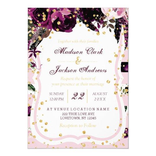 purple swirls floral wedding invitations. Black Bedroom Furniture Sets. Home Design Ideas
