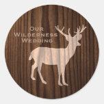 Chic Dark Wood Deer Wild Life Wedding Sticker
