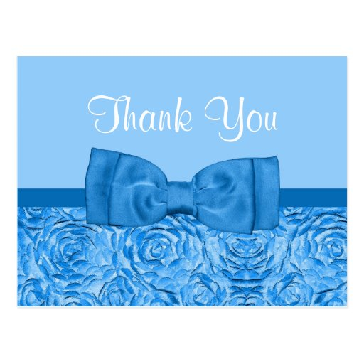 Chic Dazzling Blue Rosette Floral Thank You Post Cards