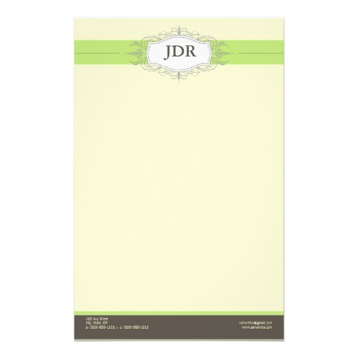 Chic Deco Lime Customized Stationery