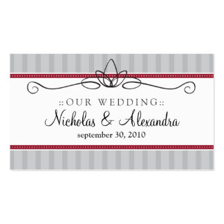 Chic Deco Silver/Red Wedding Website Card Business Card Templates
