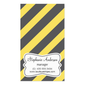 Chic Diagonal Stripes Yellow Gray Business Card