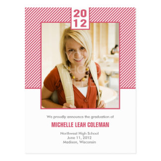Chic Diagonals Graduation Announcement/Invitation Postcard