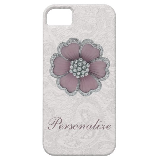 Chic Diamond Flower on White Paisley Lace Barely There iPhone 5 Case