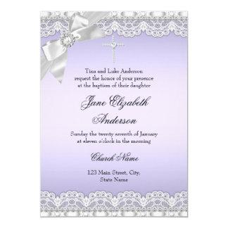 Chic Diamond Lace Purple Baptism Invite