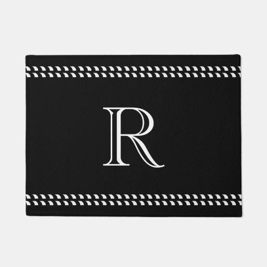 CHIC DOOR MAT_WHITE MONOGRAM ON BLACK DOORMAT