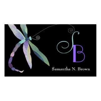 Chic Dragonfly Monogram Custom Business Cards
