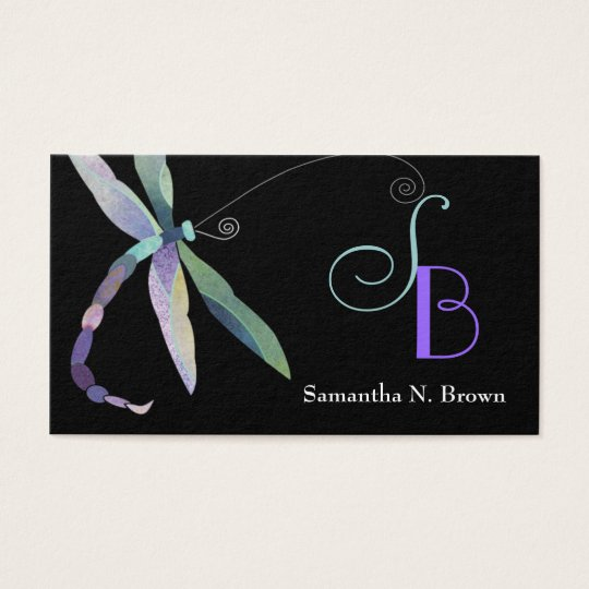 Chic Dragonfly Monogram Custom Business Cards
