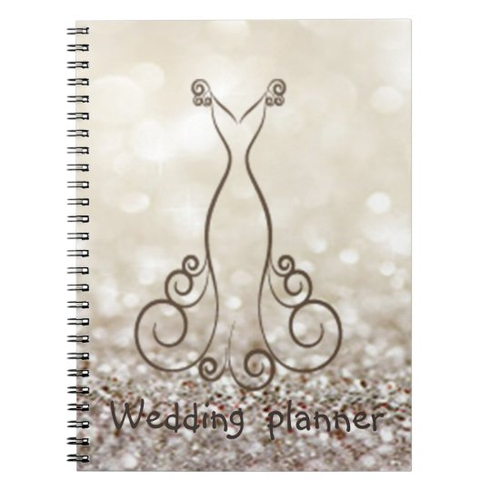 Chic Dress,Glittery Bokeh Wedding Planner Notebooks