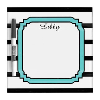 CHIC DRY ERASE BOARD_GIRLY WHITE/TURQUOISE/BLACK DRY ERASE BOARD