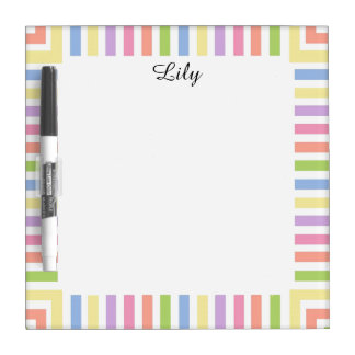 CHIC DRY ERASE NOTEBOARD_GIRLY PASTEL STRIPES DRY ERASE BOARD