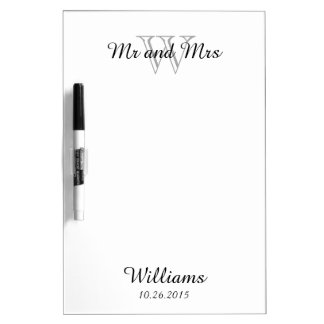 CHIC DRY NOTEBOARD_MR AND MRS OVER MONOGRAM DRY ERASE BOARD