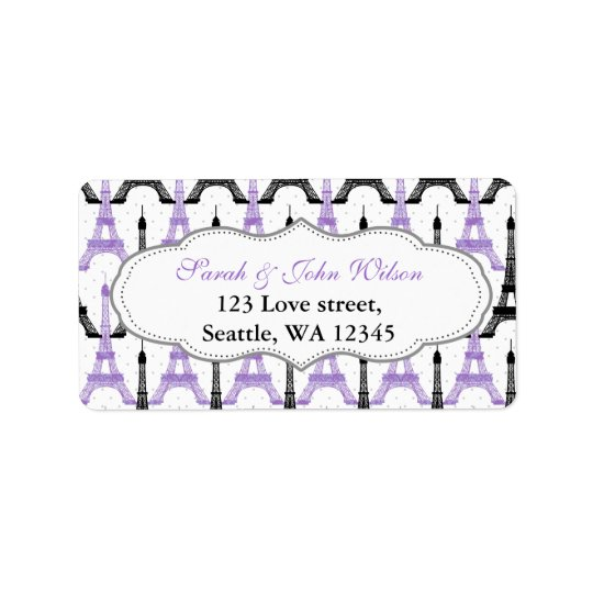 Chic Eiffel Tower address label